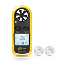 HusDow Digital Anemometer , Wind Speed Meter Gauge with Backlight and 2 CR2032 Batteries for Windsurfing Kite Flying Sailing Surfing Fishing