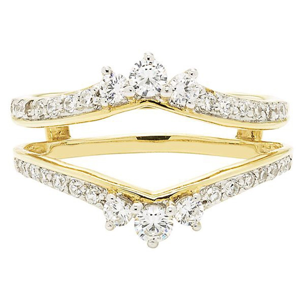 Star Retail 14K Yellow Gold Plated 5//8ct Brilliant Cut Simulated Diamonds Solitaire Enhancer Ring Guard Wrap