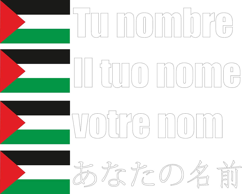 Bici Bandera mas Nombre Personalizado Pared - 180x36 mm Pegatina Vinilo Impreso para Coche Nevera etc JINTORA -Palestina- Fuente Negro Moto Carpeta Puerta
