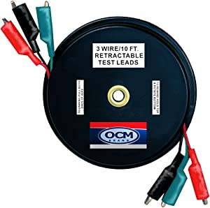 OCM - 3 Wire Retracteable Test Leads - 18 Gauge Electrical Copper Wire, Alligator Clips, Impact Resistant Case