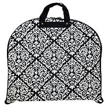 Ever Moda Black Damask 40-inch Hanging Garment Bag
