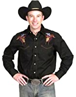 Western Express - Chemise brode country cowboy - Noir - Homme - Taille L - 405/L