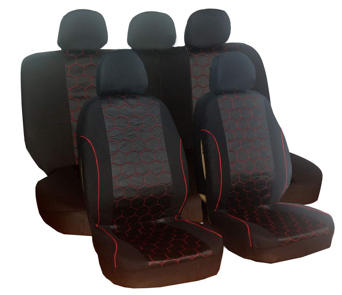 Jeu de 9 housses de siège auto universelles en polyester Noir