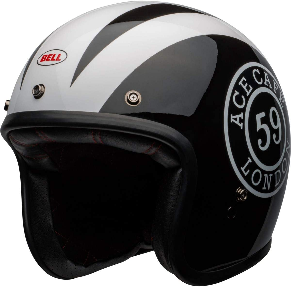 Ace Cafe 59 Gloss Black//White, X-Large Bell Custom 500 Special Edition Open-Face Motorcycle Helmet