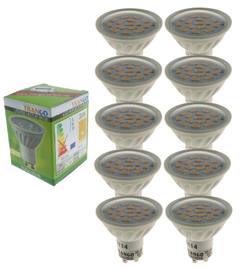 Trango® 10er Pack TGGU1015D Dimmbare 6,0Watt LED GU10 3000K Warm-Weiß Leuchtmittel mit Power SMD LED