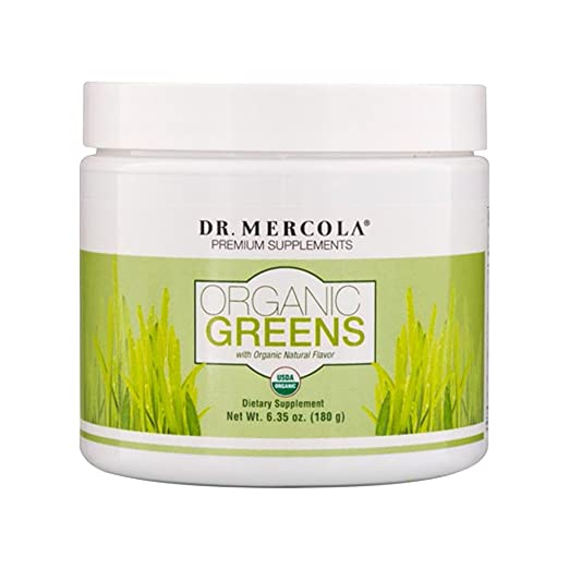 Dr Mercola Organic Greens - 60 Servings - With Superfoods Spirulina and Chlorella - Certified Organic - Gluten-Free - Non-GMO - With Organic Stevia - Perfect for Smoothies and Shakes