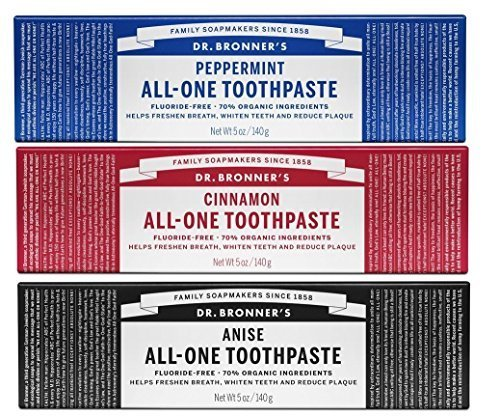 Dr. Bronner's - All-One Toothpaste (3-Pack Variety) 5 Ounce Peppermint, Cinnamon, Anise - 70% Organic Ingredients… 1 MADE WITH ORGANIC & FAIR TRADE INGREDIENTS: Dr. Bronner's All-One Toothpaste is made with 70% organic ingredients-our low-foaming formula helps whiten teeth, reduce plaque & freshen breath. NO SYNTHETIC FOAMING AGENTS: No Sodium Lauryl Sulfate, Sodium Lauroyl Sarcosinate, Ammonium Lauryl Sulfate, Sodium Methyl Cocoyl Taurate-none! No artificial colors, flavors, preservatives, or sweeteners. Fluoride- & cruelty-free! A SIMPLE FORMULA: Hydrated Silica & Calcium Carbonate act as natural, gentle abrasives; Baking Soda & Potassium Cocoate (made with Organic Coconut Oil) are superb natural cleansers; Organic Essential Oils provide refreshing flavor. It's that simple!