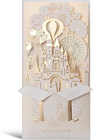 Partecipazioni Matrimonio 3d.Wishmade 50x Partecipazioni Di Nozze Cartoline 3d D Oro Taglio A