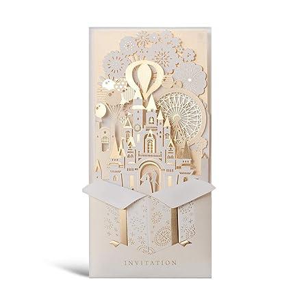 Wishmade 50 X Kits de Tarjetas de invitaciones de boda, doradas y 3D cortadas por