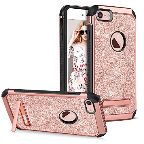GUAGUA iPhone 7 Case Kickstand Shockproof Glitter Sparkly Ultra Slim Hybrid Hard PC with Shinny PU Leather Chrome Anti-scratch Protective Tough Phone Case for iPhone 7 Cover for Girls&Women Rose Gold - Kickstand Cover