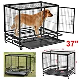 """World Pride 37"""" Heavy Duty Dog Crate Cage Kennel Metal Wire Pet Playpen w/ Tray Black For Sale"""