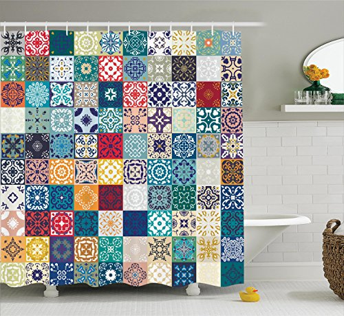 Ambesonne Moroccan Decor Shower Curtain Set, Mega Patchwork Pattern with Different Colorful Arabic Figures Original Tunisian Artful Theme, Bathroom Accessories, 75 Inches Long, Multi from Ambesonne