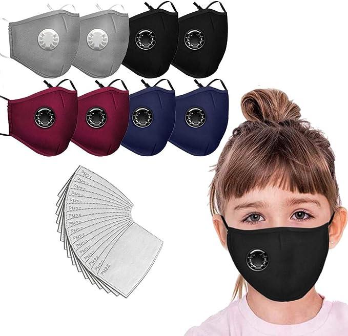 Protective Anti-Dust Facial Scarf 8PC+16PC Filters Pad Reusable//Washable Ussuma 8PC Children Face M/àsc Bandanas Breathing Valve with 16 PCS Filters for Kids Children