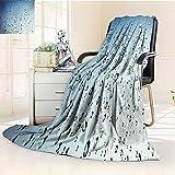 YOYI-HOME Lightweight Duplex Printed Blanket Raindrops Outside The Window Warm Microfiber All Season Digital Printing Blanket/47 W by 31.5'' H