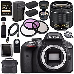 Nikon D3300 DSLR Camera with AF-P 18-55mm VR Lens (Black) + EN-EL14 Replacement Lithium Ion Battery + External Rapid Charger + Sony 64GB SDXC Card + Carrying Case Bundle
