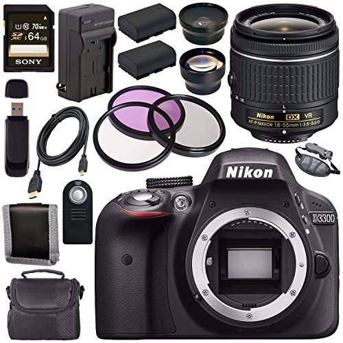 Nikon D3300 DSLR Camera with AF-P 18-55mm VR Lens  + EN-EL14