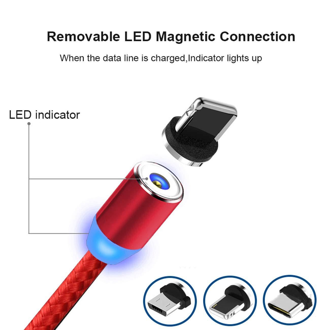 2M//6.6ft, 1-Rojo//Red Multi 3 en 1 Cable Magnetic de Carga Cargador iman con Adaptador Micro L USB Tipo C para Phone Kyerivs Cable USB Magn/ético con LED