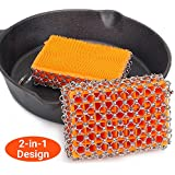 Cast Iron Cleaner with Good Grips, Faster Chainmail Scrubber for Lodge Cast Iron Skillet,Cookware,Pans,Counters, Sinks- Oil Free,Pan Scraper for Home and Camping (Orange)