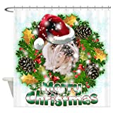CafePress - Merry Christmas Bulldog.png Shower Curtain - Decorative Fabric Shower Curtain
