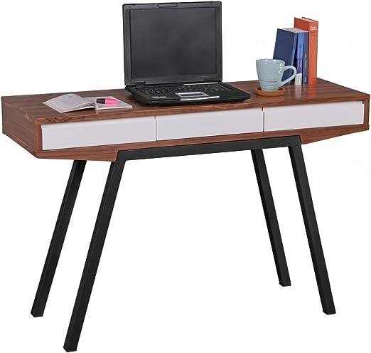 WOHNLING escritorio retro de madera de nogal / blanco 3 cajones ...