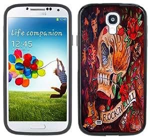 Rock N Roll Skull Rockabilly Handmade Samsung Galaxy S4 Black Bumper Hard Plastic Case