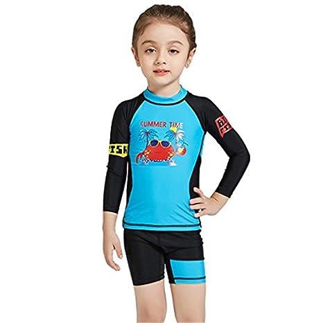 8641d9e38a JELEUON Little Kids Girls Two Piece Cartoon Print Long Sleeve Rash Guard  Tankini Sets Swimsuit Swimwear