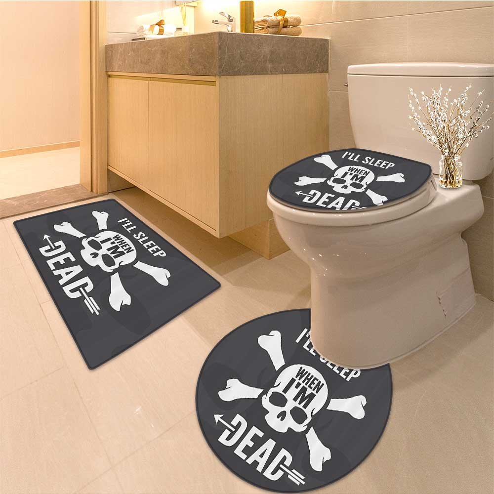 3 Piece Anti-slip mat set Collection Inspirationa about Life Anger Fear Memories Vintage Spiritua Print Fabric Non Slip Bathroom Rugs by NALAHOMEQQ