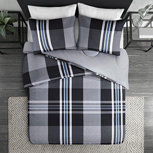 Ink+Ivy Nathan King Comforter Set Teen Boy Bedding - Grey, Plaid - 3 Piece Bed Sets - 100% Cotton Yarn Bed Comforter