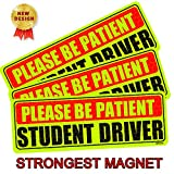 BOTOCAR Student Driver Magnet Car Signs, Strong Student Driver Magnets Reflective Student Bumper Sticker for New Drivers Magnetic Sticker Yellow Large Bold Text 10 x 3.5 Inch, Pack of 3
