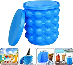 Portable 2 In 1 Ice Cube Maker, Mini Silicone Ice Bucket With Lid for Indoor Outdoor Cocktail Party And Beach Picnics