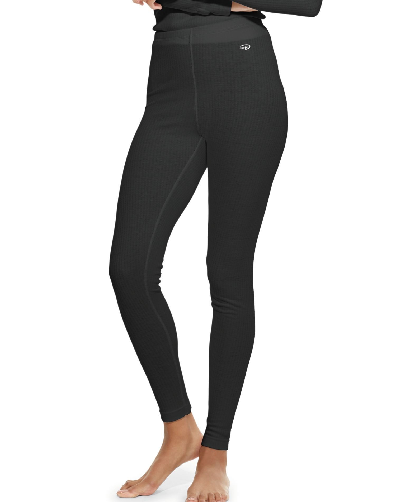 Duofold Women's Mid Weight Wicking Thermal Leggings, Black, X Large by Duofold
