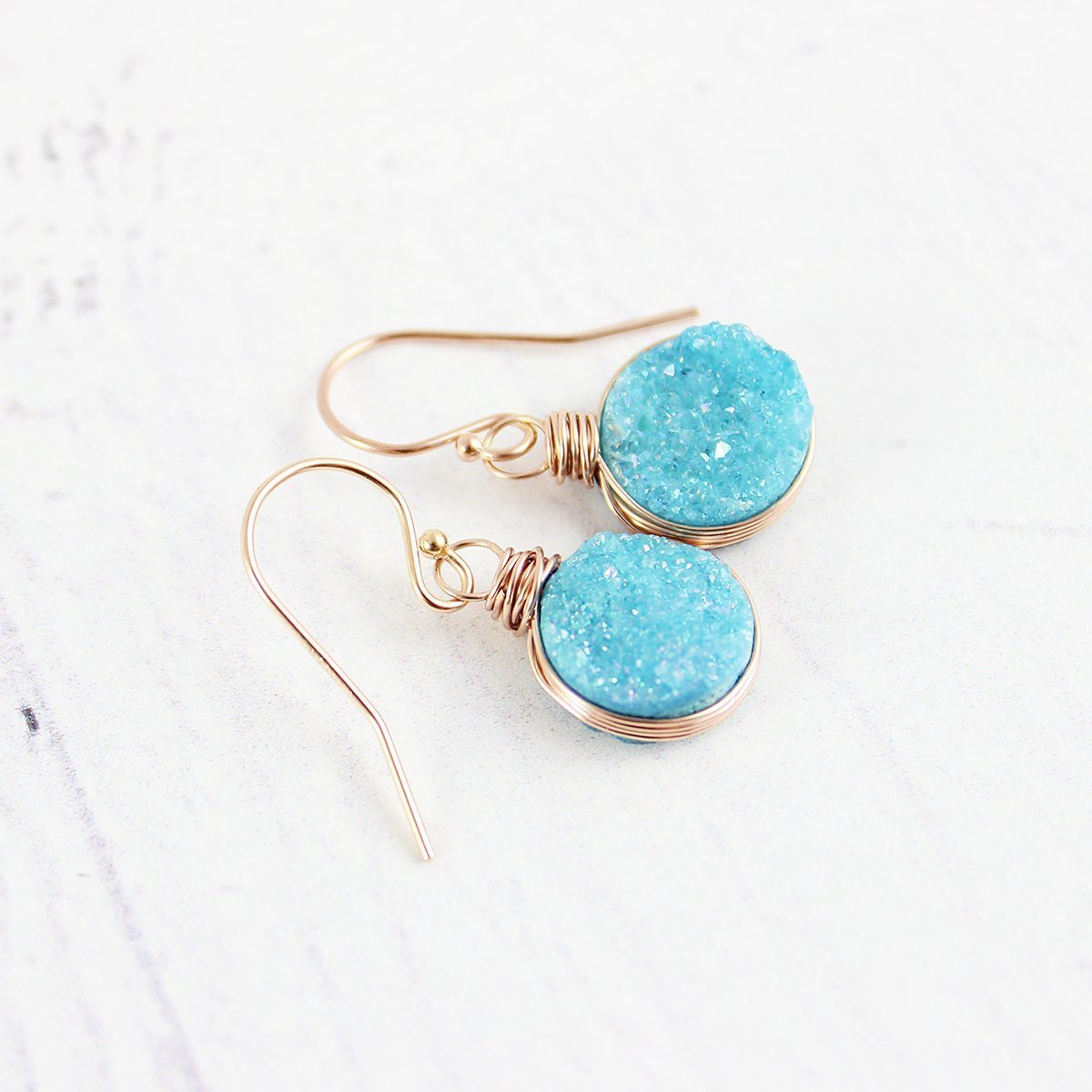Sky Blue Druzy Geode Rose Gold Earrings