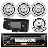 JVC KD-R97MBS Marine Yacht Bluetooth CD MP3 SiriusXM Ready Stereo Player Receiver Bundle Combo With 4x Kenwood 6.5' Inch 200-Watt 2 Way Boat Audio Speakers, Enrock Waterproof Stereo Protective Cover