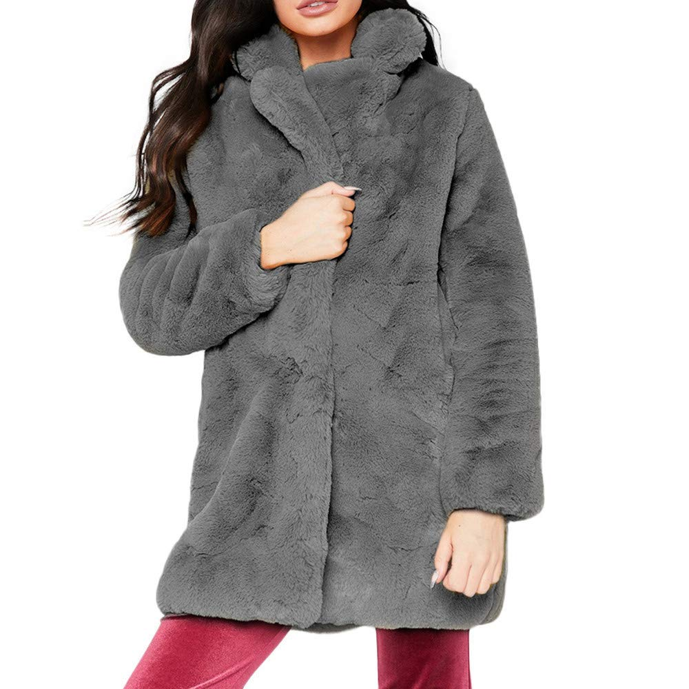grey Winter Lady Womens Warm Long Faux Fur Coat Jacket Parka Outerwear Loose Solid color Wild Tight for Women