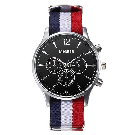 Casual Relojes Mujer Relojes Hombre Relojes de Cuarzo Correa de Nylon Pequeños Dial Decorativo Relojes de