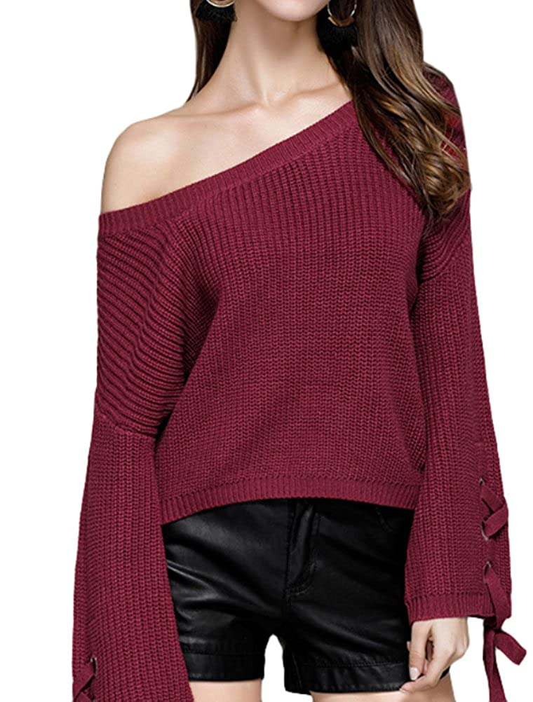 Mordenmiss Women's Large Round Neck Speaker Sleeves Pullover Sweater S-XL Y520
