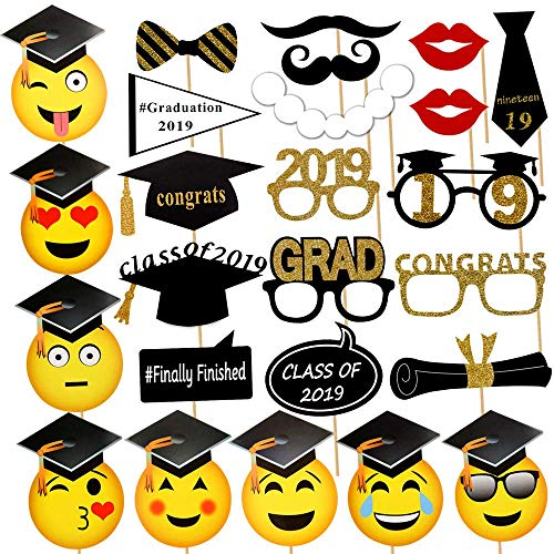 Photo Booth Props Kit,Yamissi Class of 2019 Photo Booth Props Smiley Face Masks Emoji Photo Booth Props for Graduation Grad Party Supplies(25 -