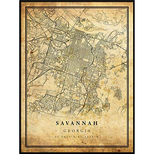 (Savannah map Vintage Style Poster Print | Old City Artwork Prints | Antique Style Home Decor | Georgia Wall Art Gift | Historical maps 11x14 )
