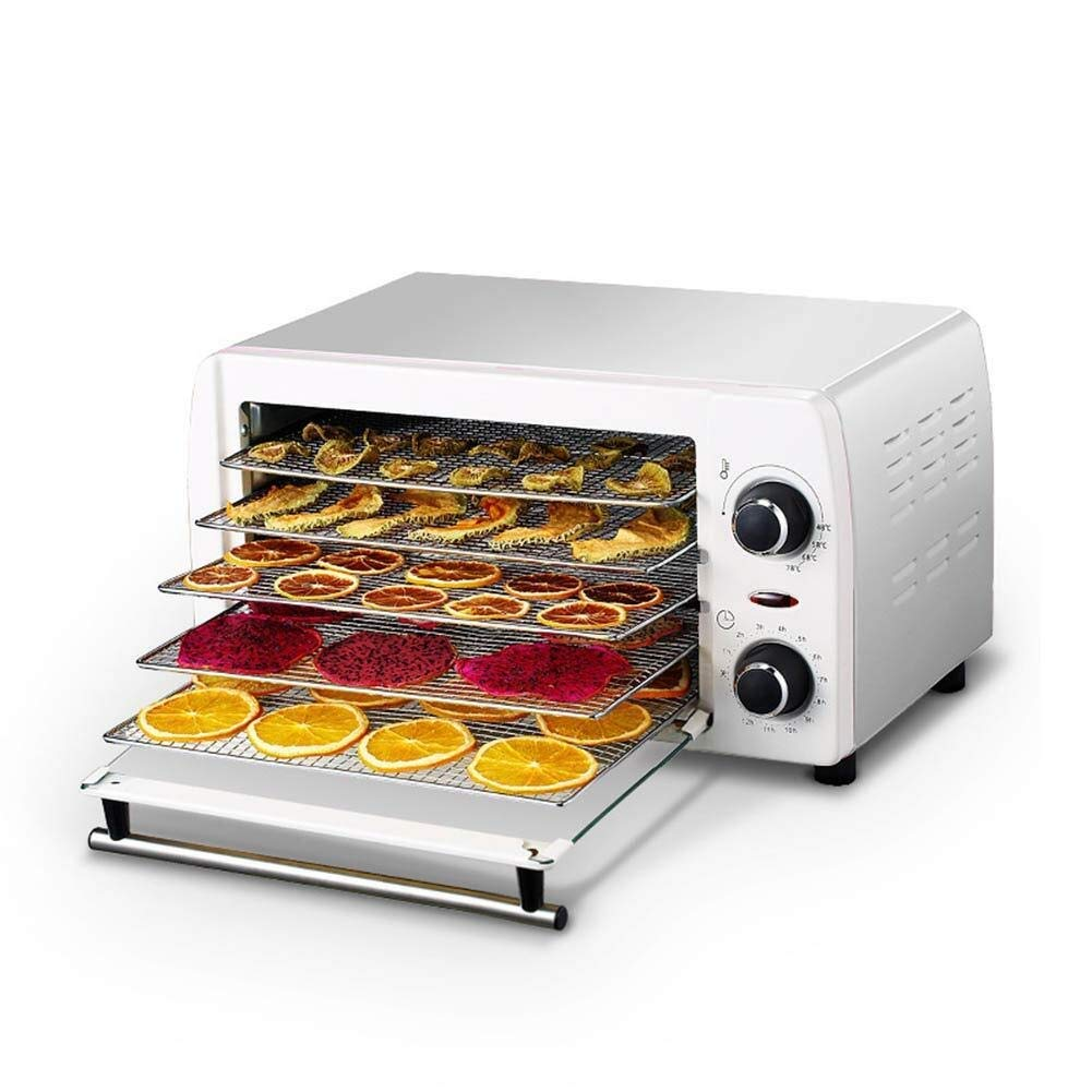 Food dehydrator Food Dehydrator, Temperature Adjustable Timer 5-Layer Stainless Steel Tray Household Dryer for Fresh-Keeping Processed Meat Fruits and Vegetables,White by ZTHUAYUAN