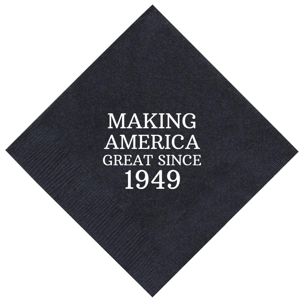 70th Birthday Gifts Making America Great Since 1949 70th Party 100 Pack 5x5'' Cocktail Napkins Black