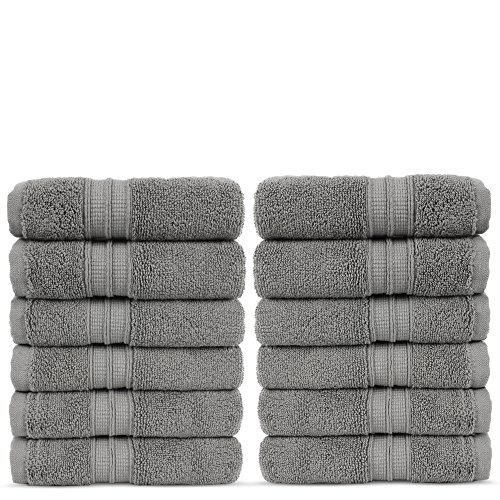 Luxury Premium Turkish Cotton 12-Piece Washcloths, Long-Stable 20/2, 2 Ply Turkish Ring-Spun Cotton Yarn Makes The Luxe…