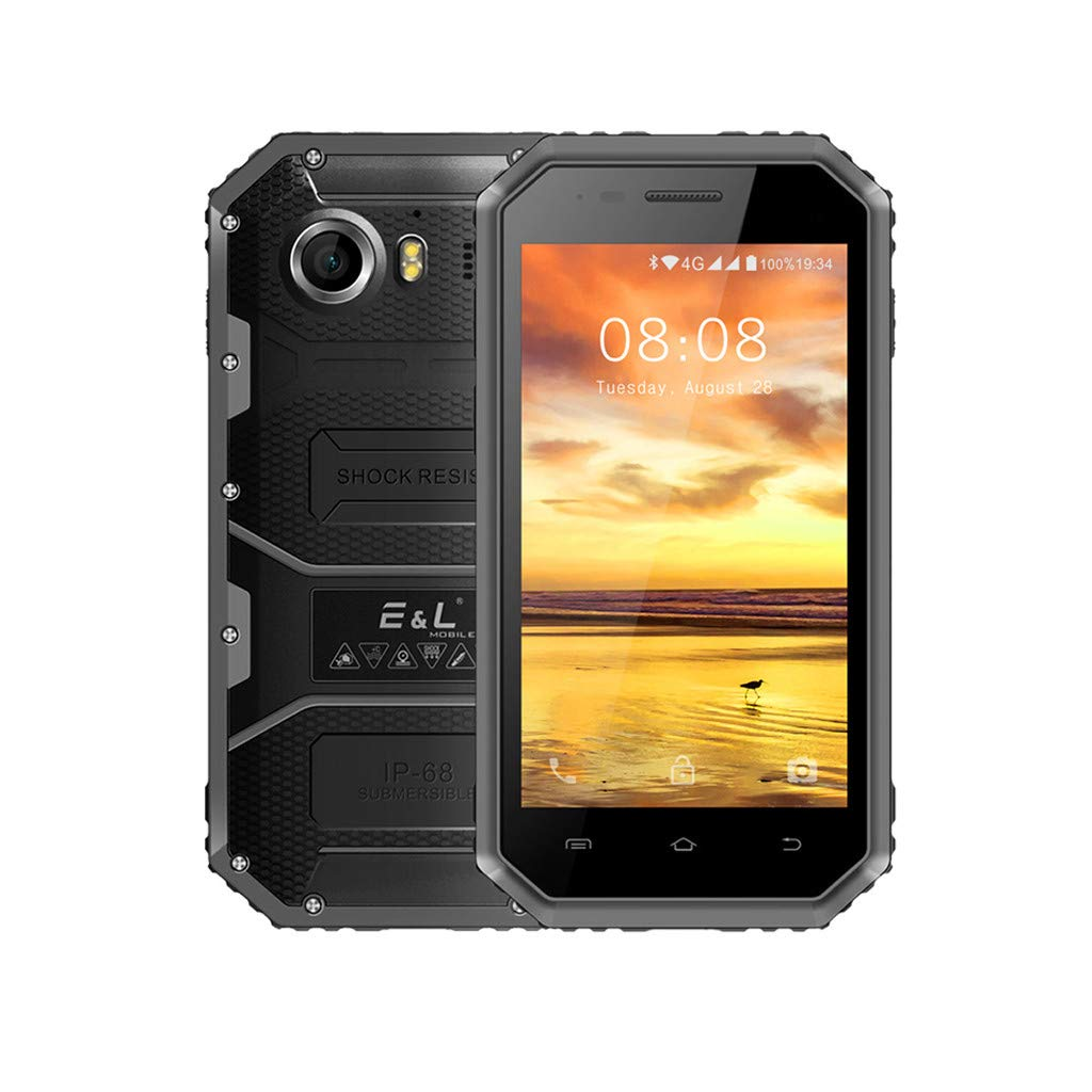 Waterproof Smartphone NDGDA, Dustproof 4.5 Inch 1GB+8GB ROM Fallproof 5MP+8MP Cameras 4G Smartphone GPS WiFi Cellphone (Black)