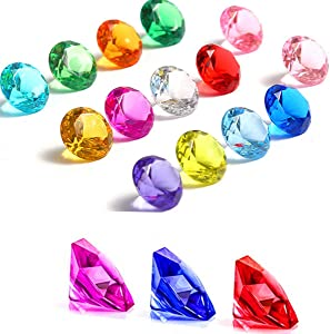 KangRuiZhe 100 PCS Acrylic Crystal 20mm Round Diamond Crystals Treasure, Chest Hunt Party,Vase Fillers, Event, Wedding, Birthday Decoration Favor. (100pcs)