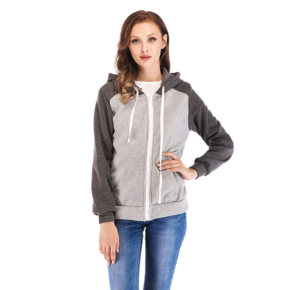 Ladies Autumn and Winter Coat Fashion Womens Long-Sleeved Sports Casual Hooded Colorblock Zipper Jacket