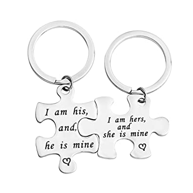 a2fd0a6ad1 Gzrlyf Couple Keychain I Am His and He is Mine Set Puzzle Piece Keychain  Wedding Gift (Set Keychain): Amazon.ca: Jewelry