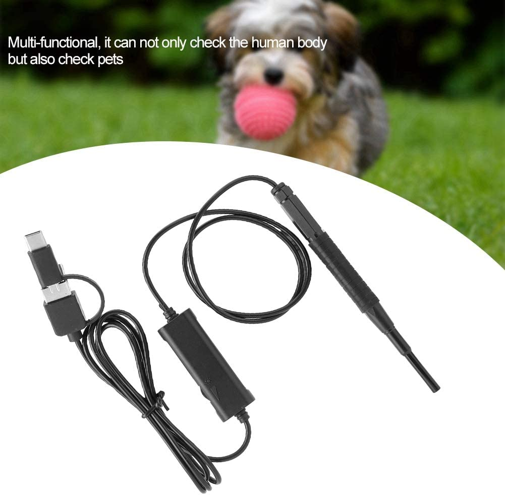 Ear Cleaning Tool Black USB Ear Endoscope Fits for USB and Type-c phones 3.9mm HD 3 in 1 100w HD pixel Waterproof Inspection Camera with 6 LED lights Ear Camera Ear Scope Camera