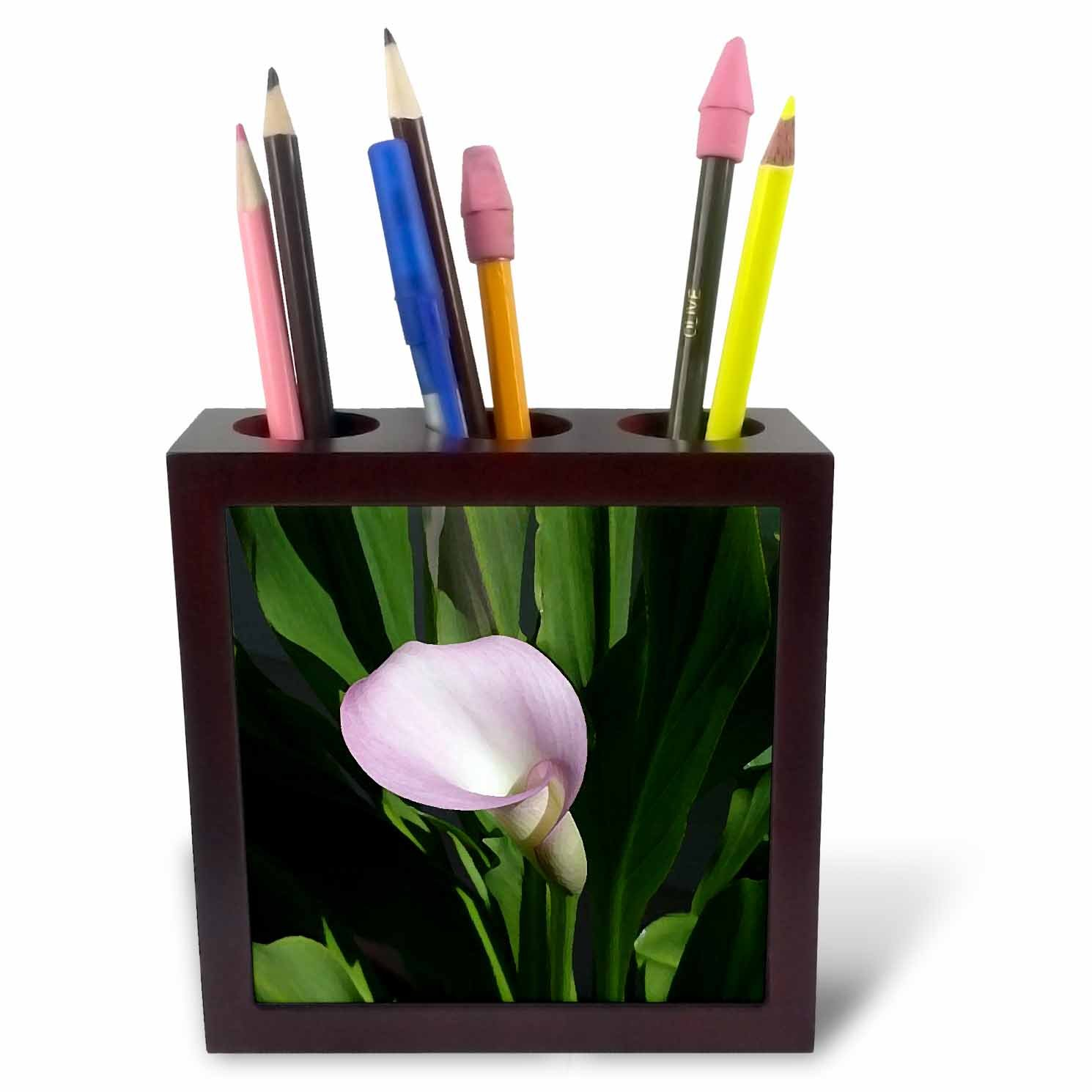 3dRose ph_4273_1 Pink Calla Lily Tile Pen Holder, 5-Inch by 3dRose