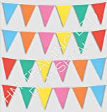 33 Feet Long Multi Coloured PVC Plastic Bunting Banner 20 Flags Pennant Double Sided Indoor & Outdoor Party Decoration by DealSheal
