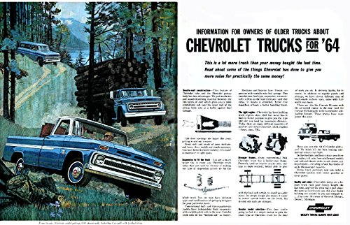 1964 CHEVROLET TRUCKS: FLEETSIDE PICKUP, C80 CHASSIS-CAB & SUBURBAN CARRYALL HUUGE VINTAGE COLOR AD DOUBLE PAGE - USA - EXCELLENT ORIGINAL !!‏ (Suburban Chassis)