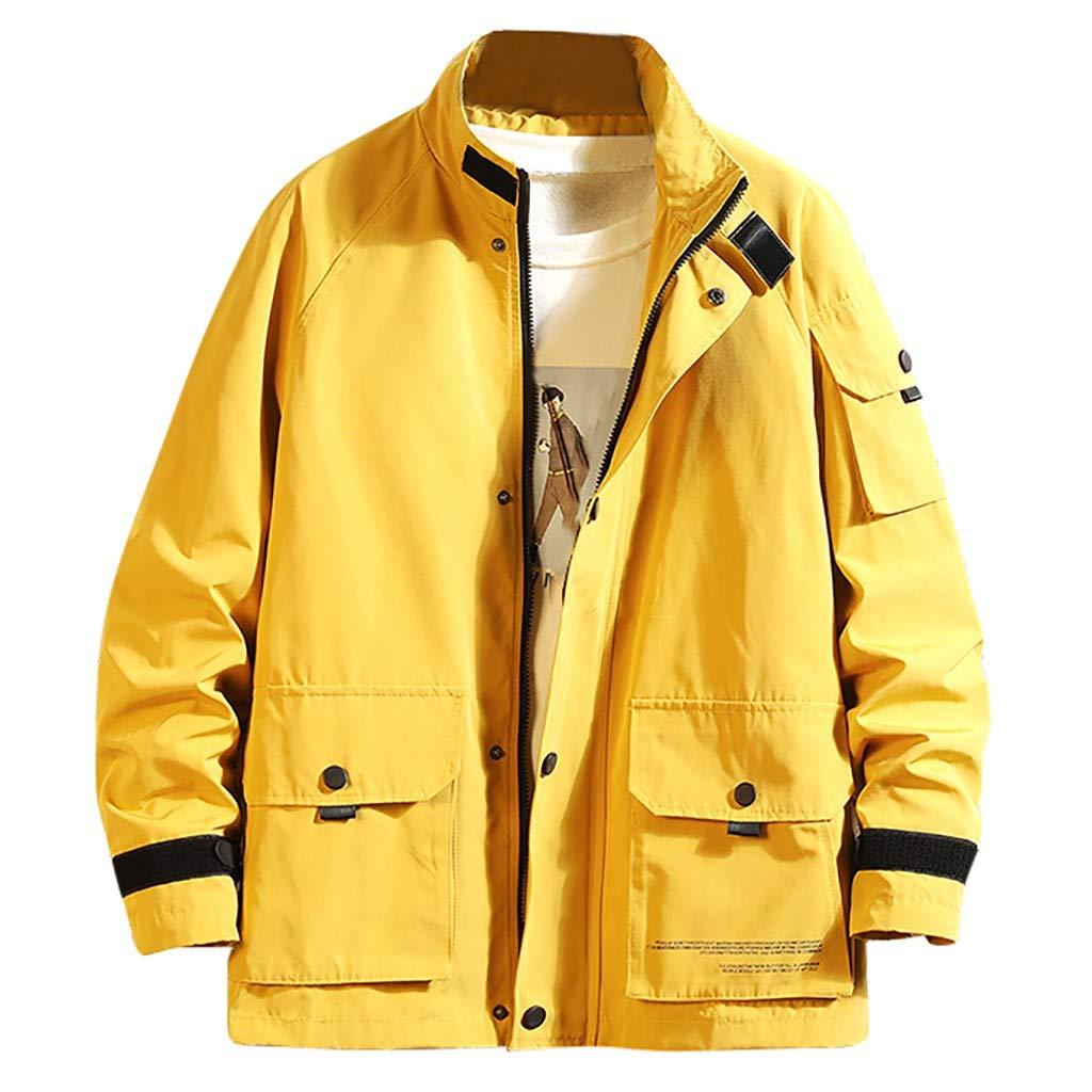 FEDULK Men's Fashion Plus Size Jacket Turn-Down Collar Multi-Pocket Overcoat Coat Comfort Fit Outwear M-5XL(Yellow, XXXX-Large) by FEDULK